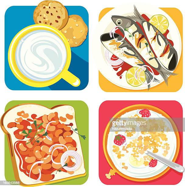 beautiful breakfasts - baked beans stock illustrations, clip art, cartoons, & icons