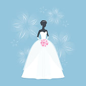 Beautiful Bride holding a flower bouquet. Princess silhouette on Blue flower background. Vector