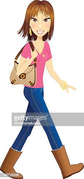 Beautiful brunette woman walking