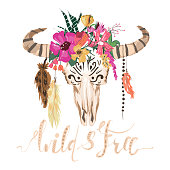 Beautiful bull scull, hand drawn, vector watercolor illustration. Scull with flowers wreath and hanging feathers