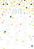 Beautiful Calendar for 2018 Year with colorful Confetti.