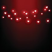 Beautiful card for Valentine's Day with heart-shaped lights vector