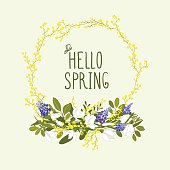 Beautiful card made with a floral wreath - Illustration