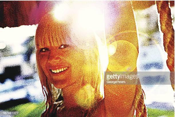 Schöne unbeschwerte Frau und Lens Flare