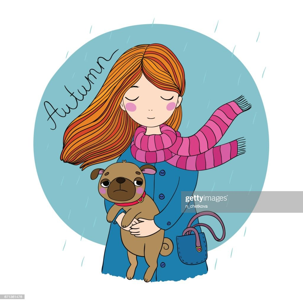 Beautiful cartoon girl and pug.