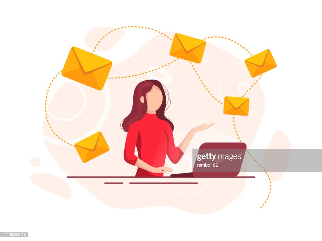 Beautiful cheerful young businesswoman working on laptop. E-mail and communication concept. : stock illustration