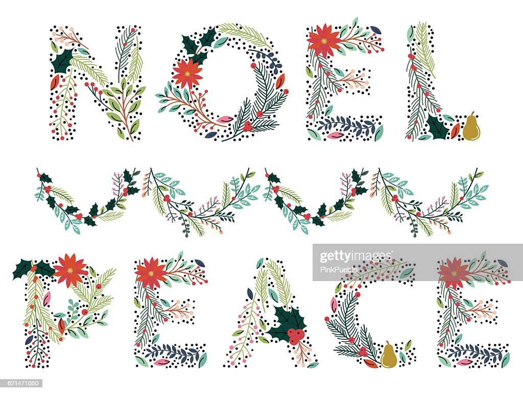 Beautiful Christmas or Winter Holidays Floral Word in Vector Format