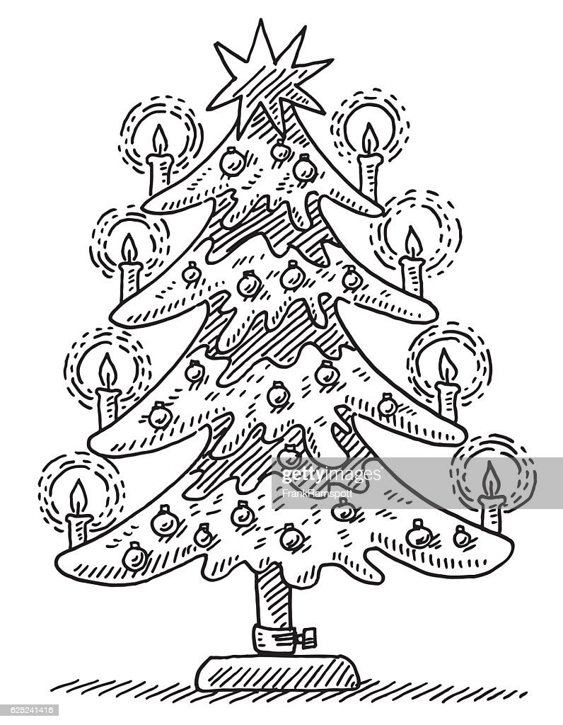 Beautiful Christmas Tree Drawing Stock Illustration Getty Images