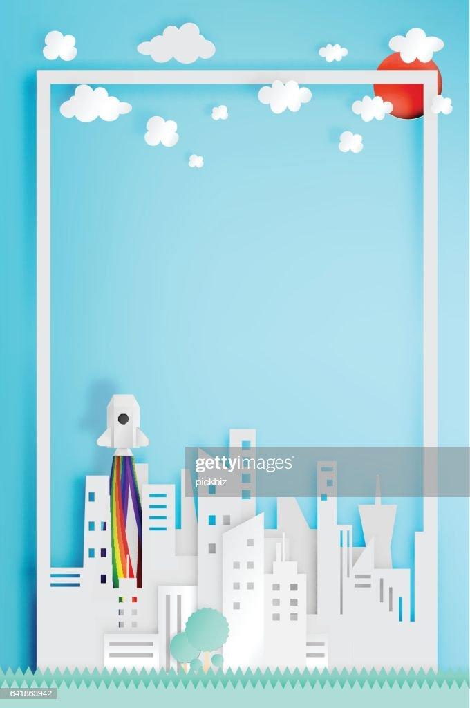 Beautiful cityscape with rocket paper art style