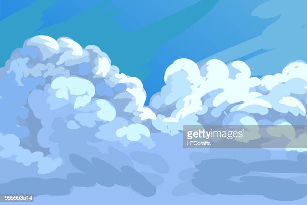 beautiful clouds - overcast stock illustrations, clip art, cartoons, & icons