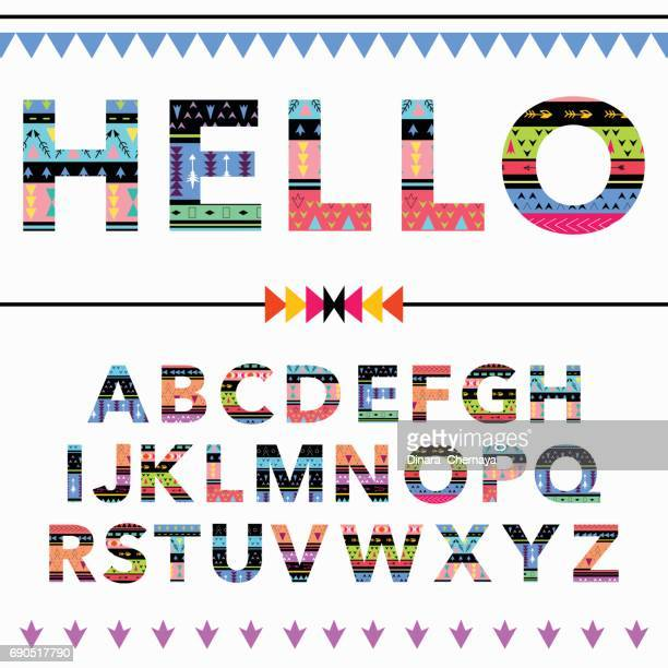 Beautiful Colorful Font English Alphabet stock illustration