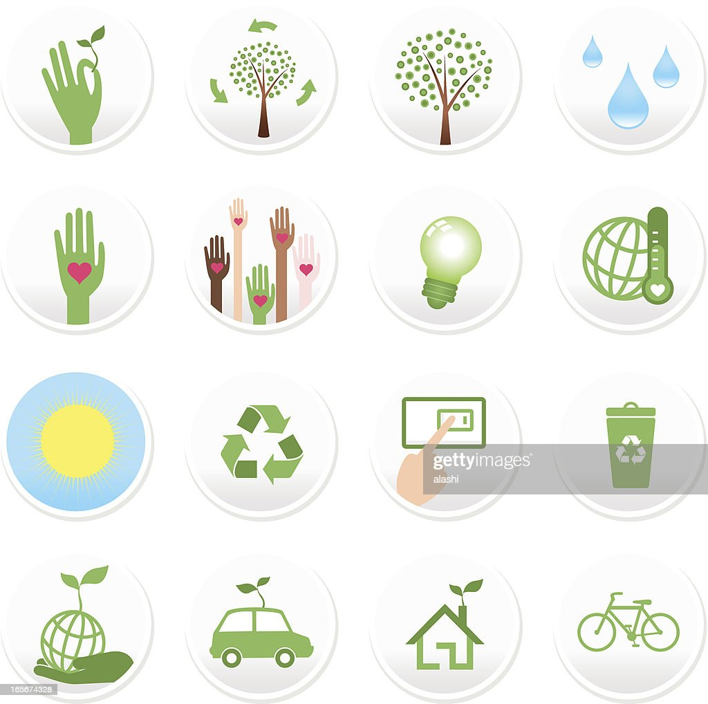 Beautiful Concept Icon Set: Green, Environmental Conservation, Sustainability