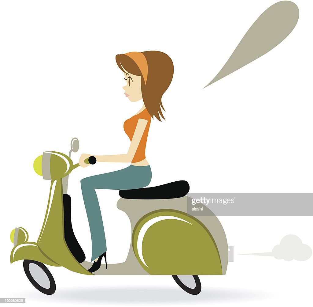 Beautiful Cool Girl Riding A Motorcycle : stock illustration