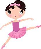 Beautiful cute ballerina in nice dress isolated on white