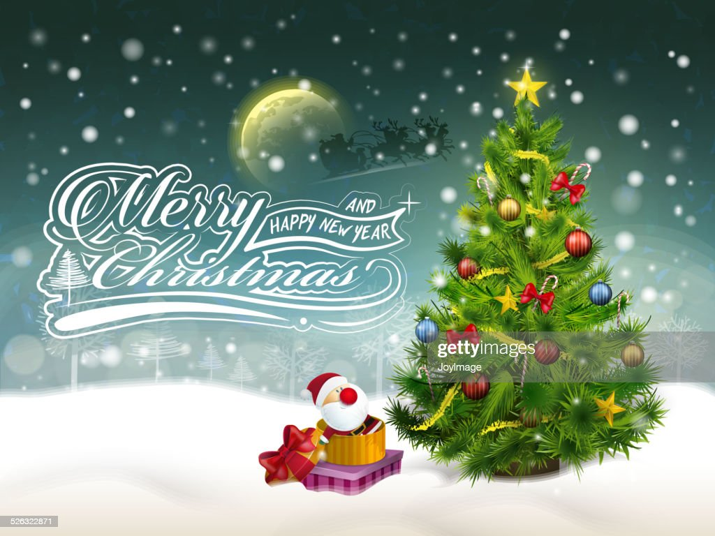 beautiful decorated Christmas tree and gifts