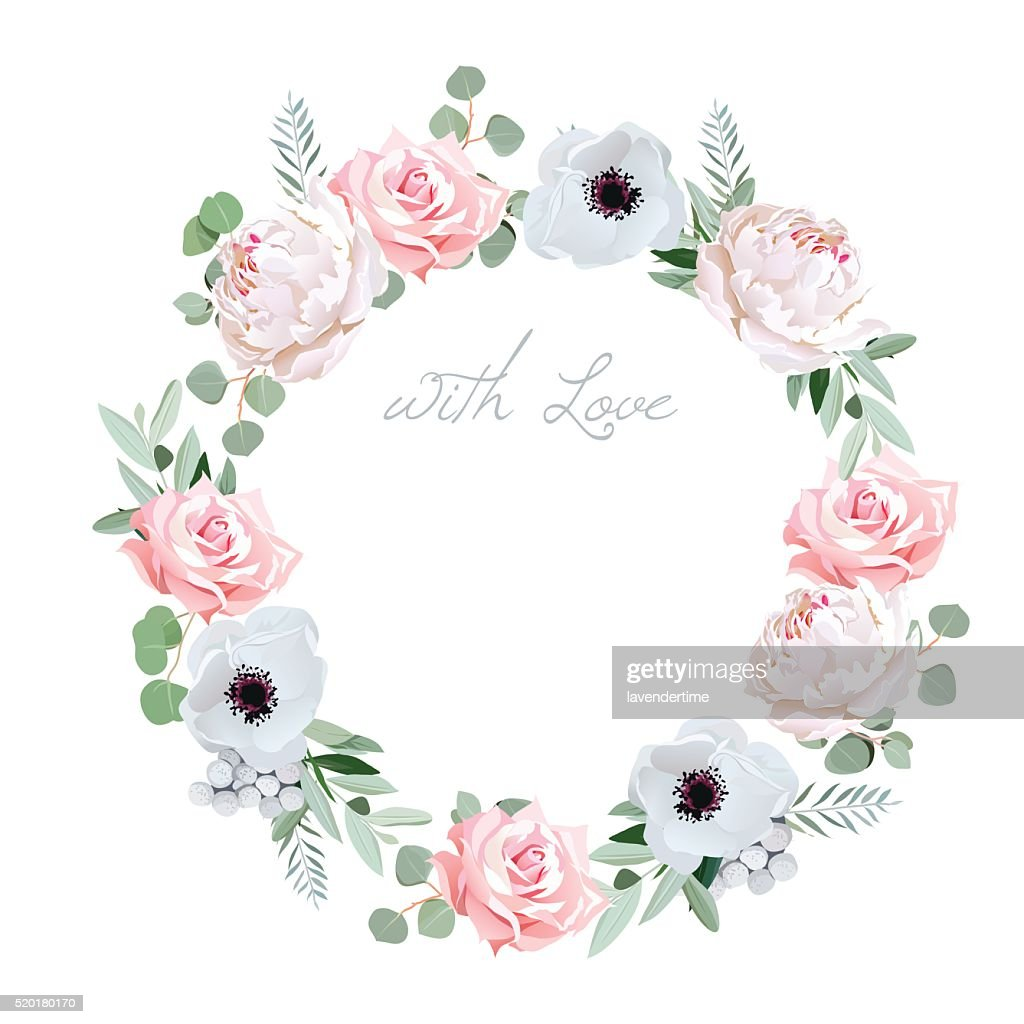 Beautiful delicate peony, anemone, rose round vector frame