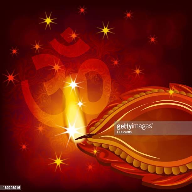 beautiful diwali background - om symbol stock illustrations