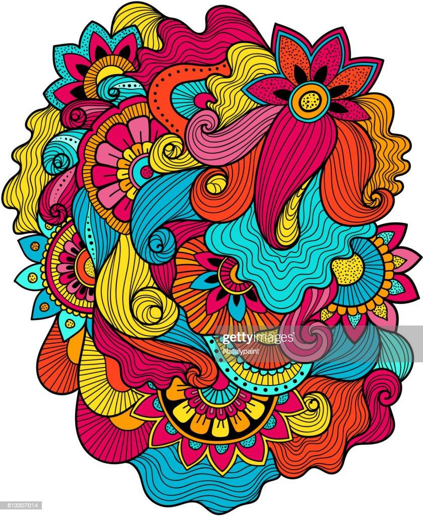 Beautiful doodle art floral composition. Tattoo flower template. Doodle floral drawing. doodle floral ornament
