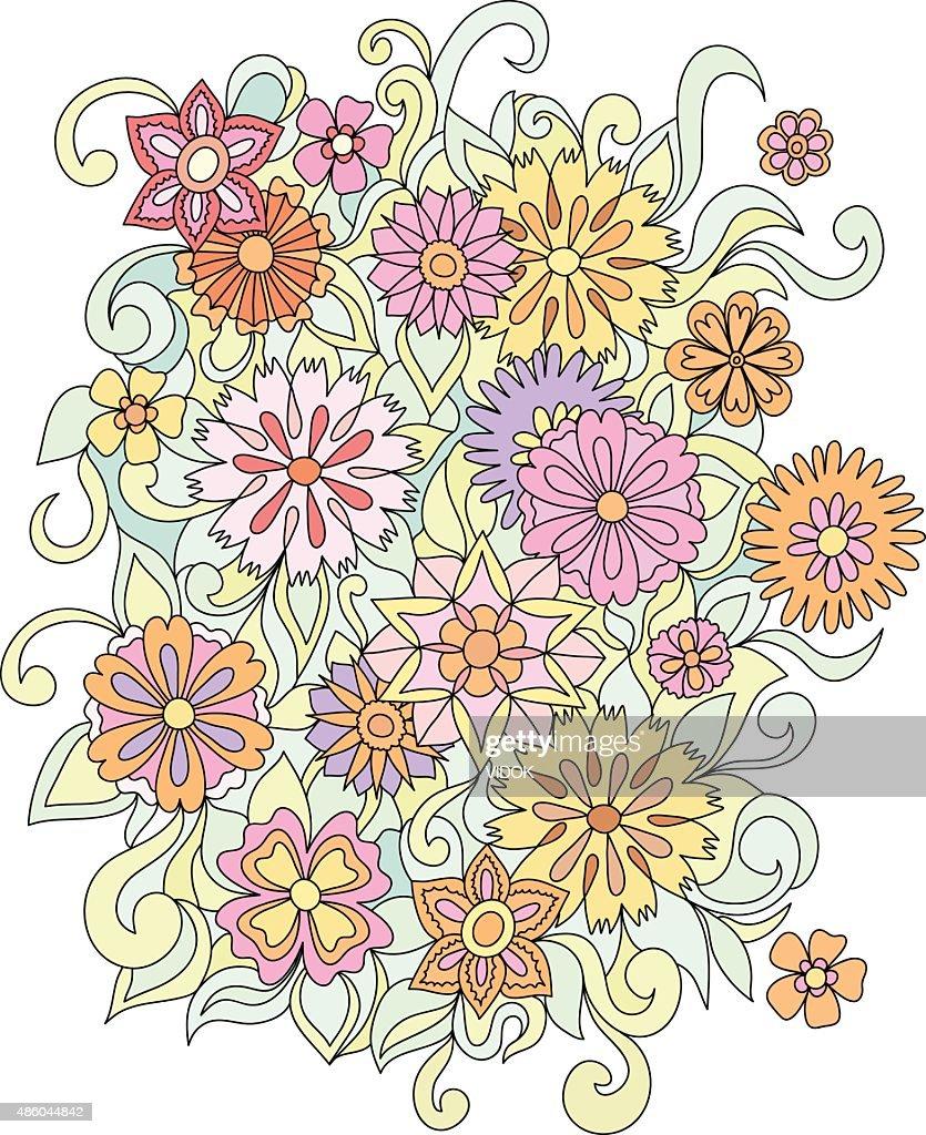 Beautiful Doodle Art Flowers Multicolored Pattern Vector Art Getty