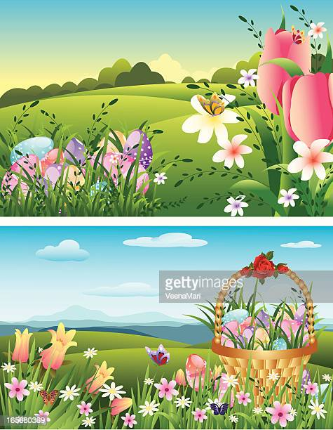 ilustrações, clipart, desenhos animados e ícones de lindo fundo da páscoa. - cesta de páscoa