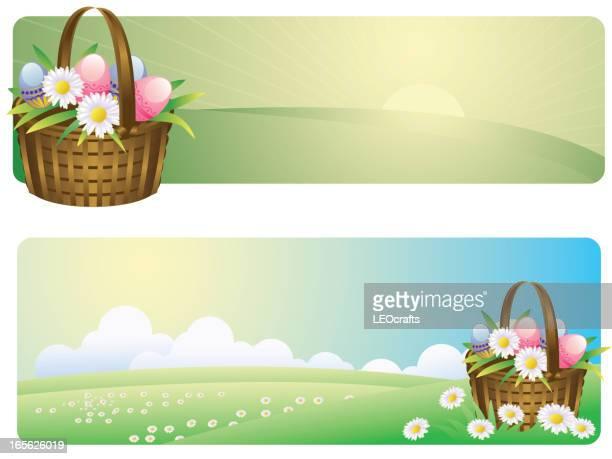 ilustrações, clipart, desenhos animados e ícones de bela páscoa/primavera banners - cesta de páscoa