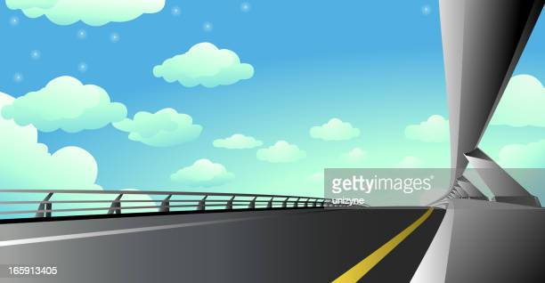 beautiful express highways - overpass road stock illustrations