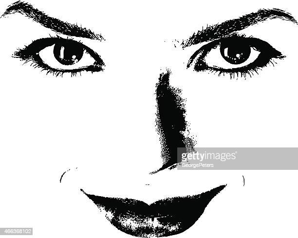 beautiful eyes, lips and nose - temptation stock illustrations, clip art, cartoons, & icons