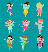 Beautiful fairy princesses vector fairy wings fly character magic wand set. Collection of cartoon fairies characters little girls. Princess fashion fairytale magic fantasy cute dress crown girl