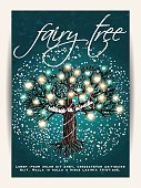 Beautiful fairy tree, decorated with glowing hearts