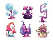 Beautiful fantasy mushrooms set