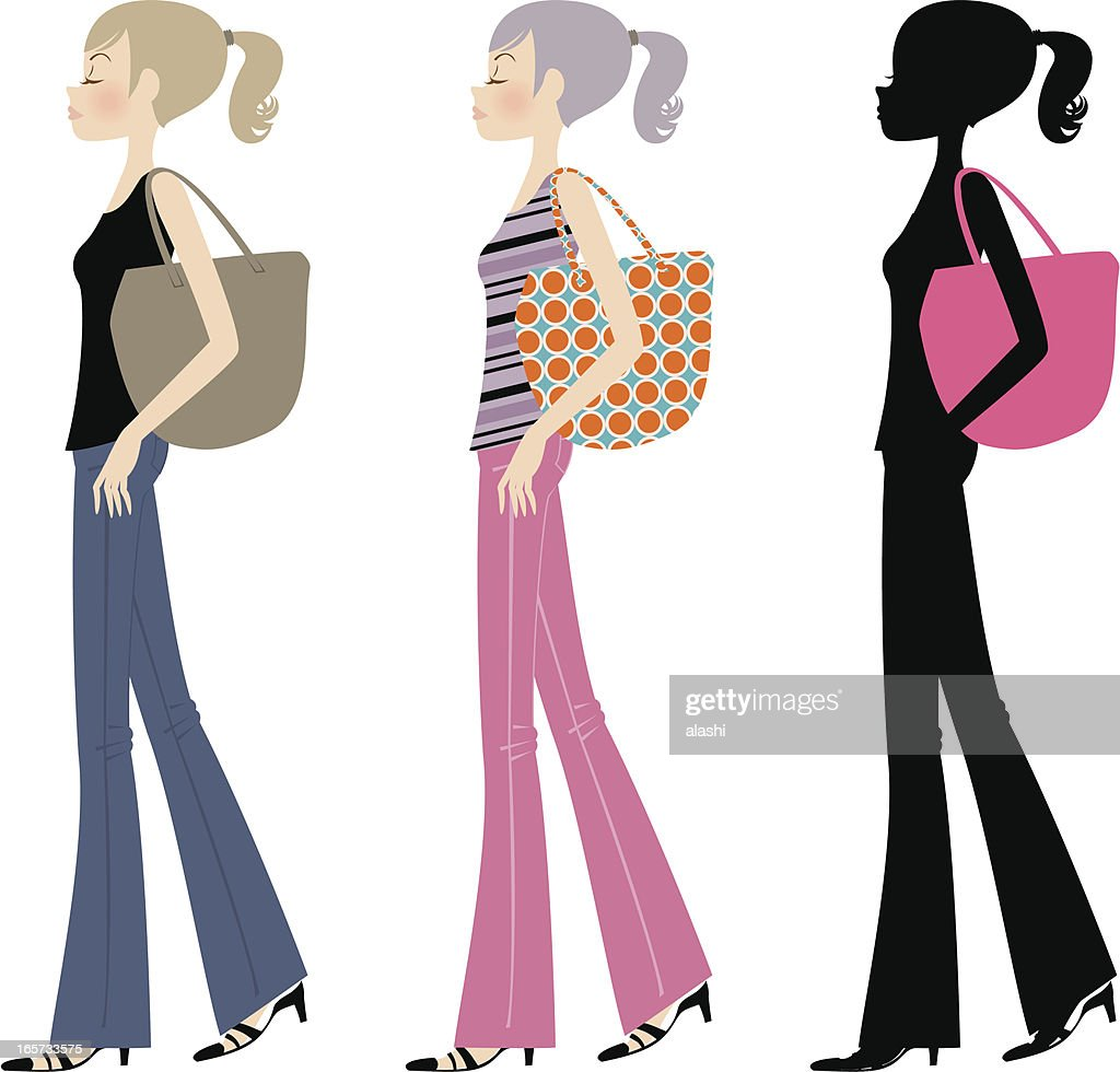 Beautiful fashion ponytail girl walking with bag : stock illustration