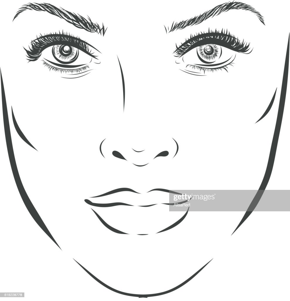 Beautiful fashion woman portrait for make up on background. Vector