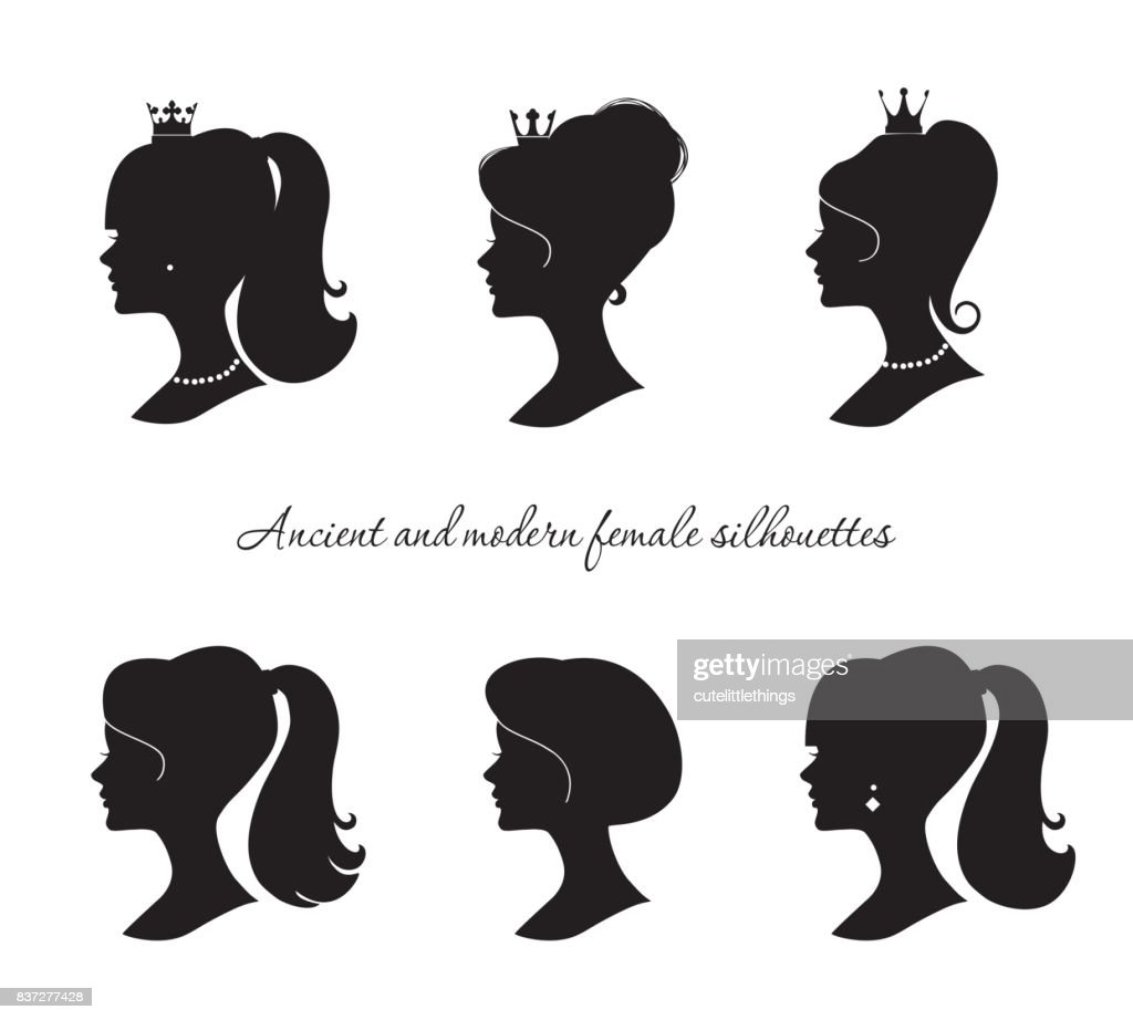 Beautiful female silhouettes set. Modern and ancient young woman profiles. Isolated on white.