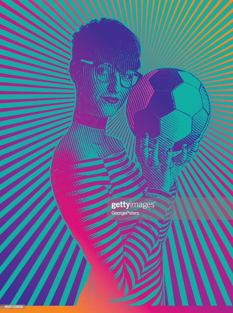 Beautiful female soccer fan holding football with concentric half tone pattern : stock illustration