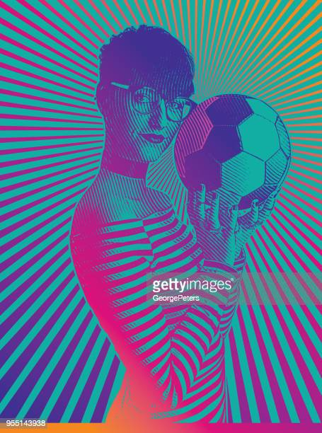 Beautiful female soccer fan holding football with concentric half tone pattern
