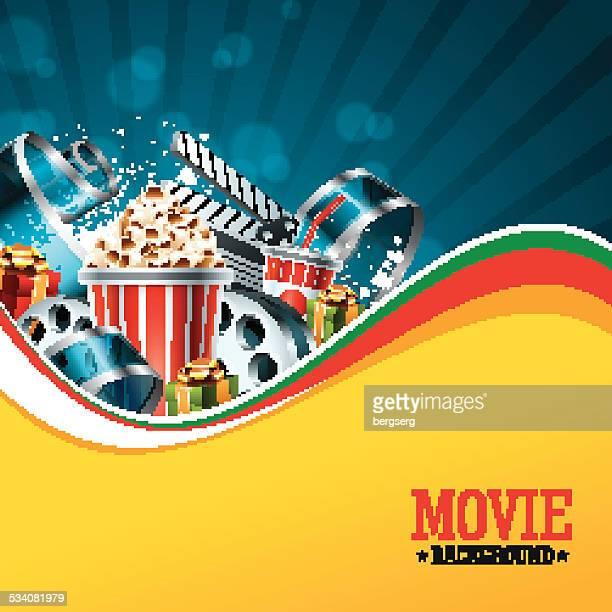 ilustraciones, imágenes clip art, dibujos animados e iconos de stock de hermoso fondo de película - rollo de cine