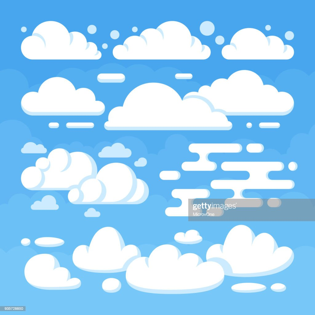 Beautiful flat white clouds on blue sky background
