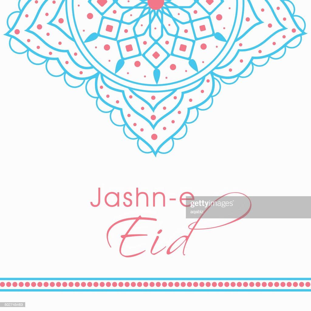 Beautiful floral design decorated Jashn-e-Eid  greeting card.