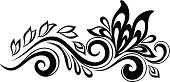 Beautiful floral element. Black-and-white flowers