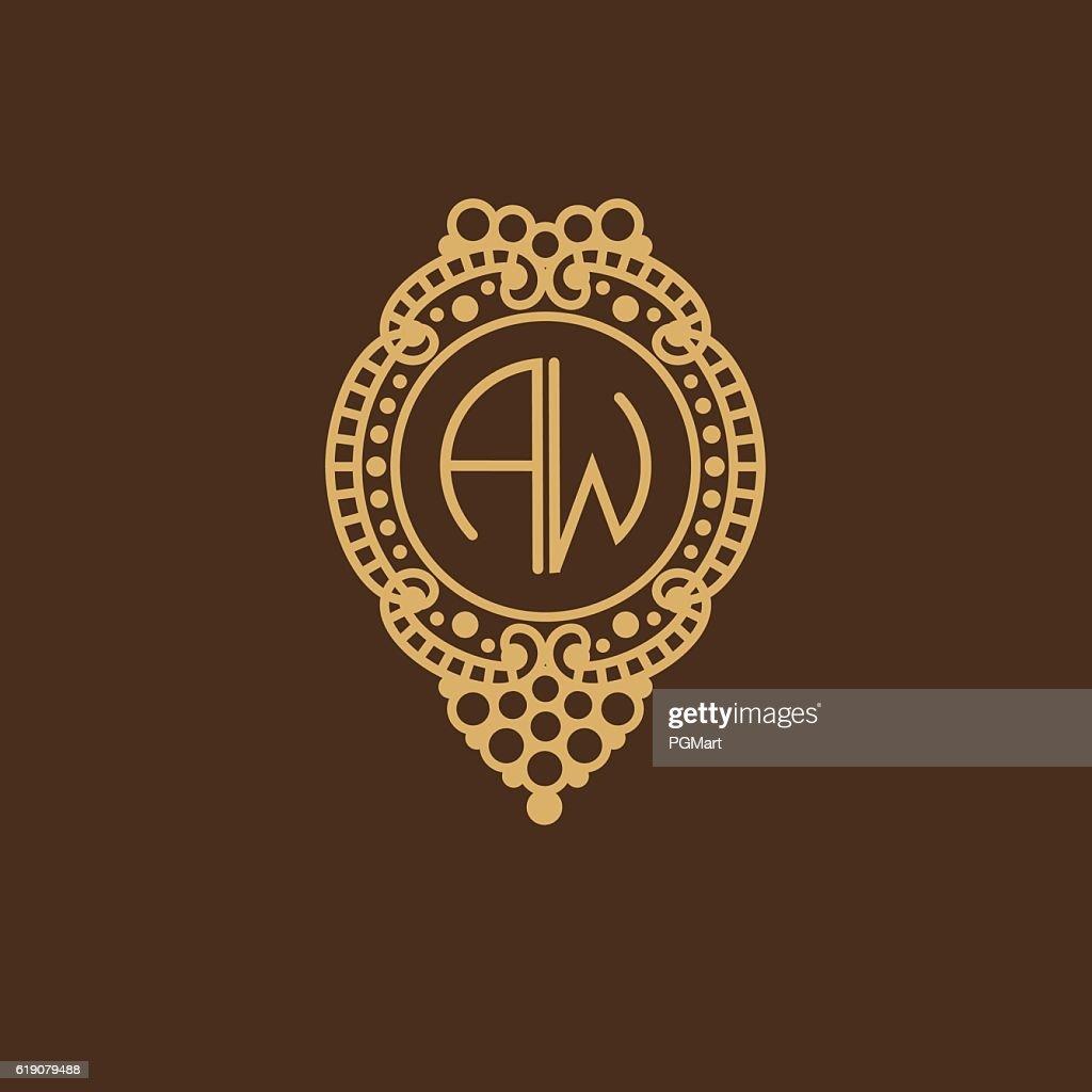 Beautiful floral monogram design , Elegant line art logo , vector template