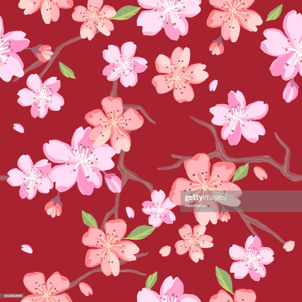 Beautiful Floral Patterns In Japanese Style Vector Art Getty Images