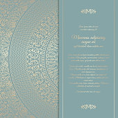 Beautiful floral square invitation card with golden round pattern. Vintage wedding cover design template. Vector mandala background with message space
