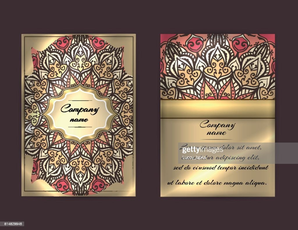 Beautiful flyer in ethnic, boho style. Front page and back page. Luxury design.