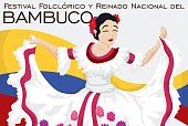 Beautiful Folkloric Queen Dancing in Traditional Colombian Bambuco Festival