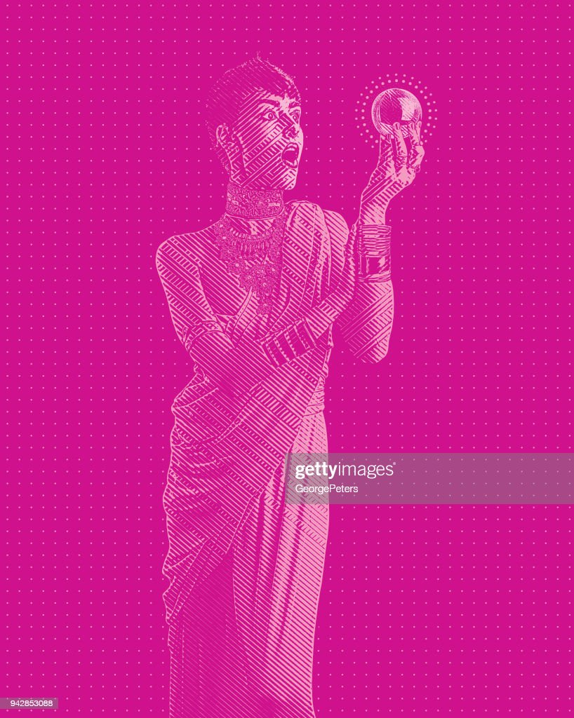 Beautiful fortune teller and shocked expression : stock illustration