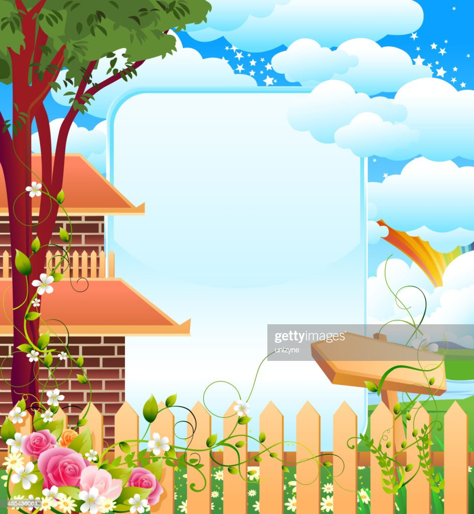 Beautiful Frame With Farm House Landscape Vector Art   Getty Images