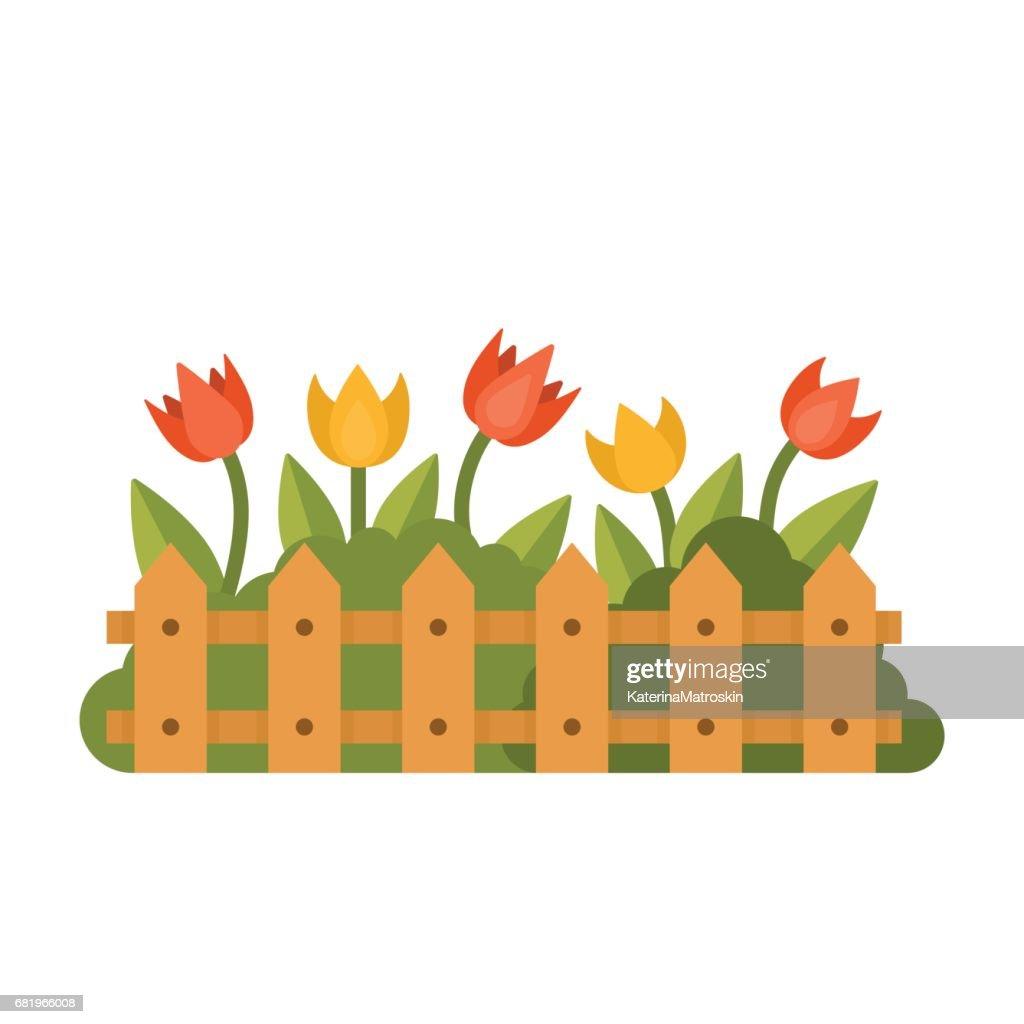 Beautiful garden with different flowers behind the fence flat style beautiful garden with different flowers behind the fence flat style vector illustration vector art izmirmasajfo