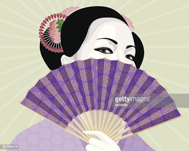 beautiful geisha hiding behind elaborate fan - geisha stock illustrations, clip art, cartoons, & icons