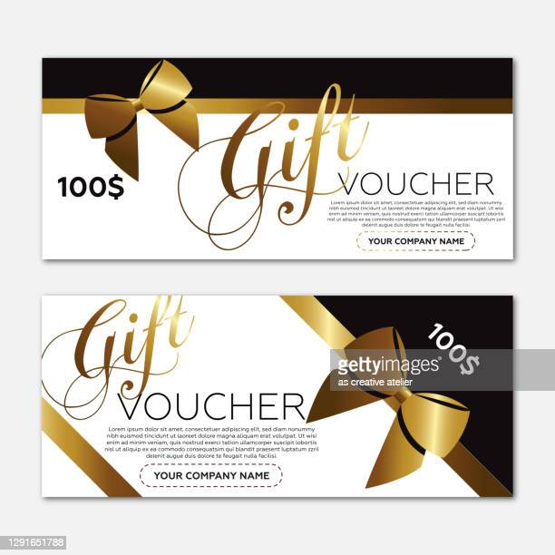 beautiful gift voucher template. gold ribbon and black background. - christmas cash stock illustrations
