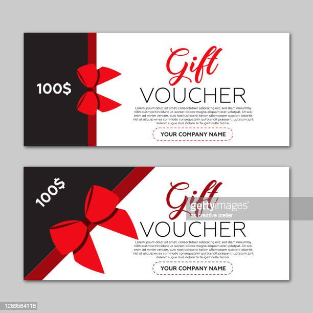 beautiful gift voucher template. red ribbon and gray background. - christmas cash stock illustrations
